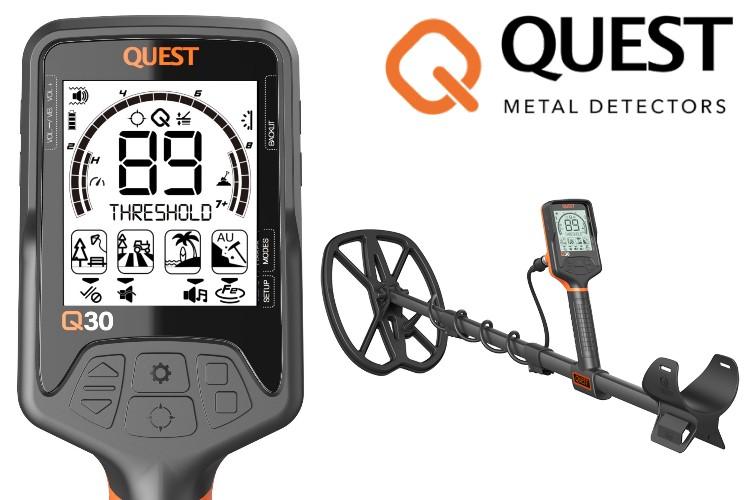 Quest Q30+ Metalldetektor mit Funkkopfhörer & Xpointer Pinpointer (orange) & Schatzsucherhandbuch & Fundtasche & Kappe