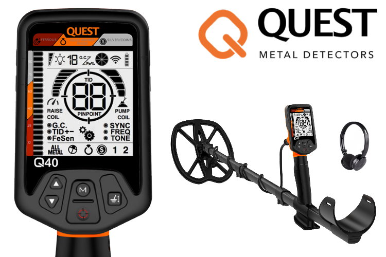 Quest Q40 Metalldetektor mit Raptor Spule